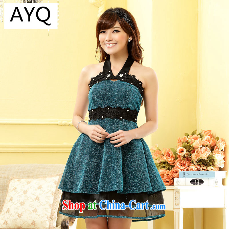 AIDS has been Qi mini night store jerseys Pearl set the finishing touch thin waist dress dresses 9800 A - 1 blue XXXL