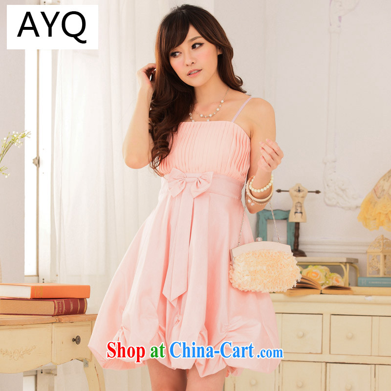 AIDS has been Qi only American Princess Sau-hem the waist lantern dress straps dress dresses 9116 A - 1 pink XXXL