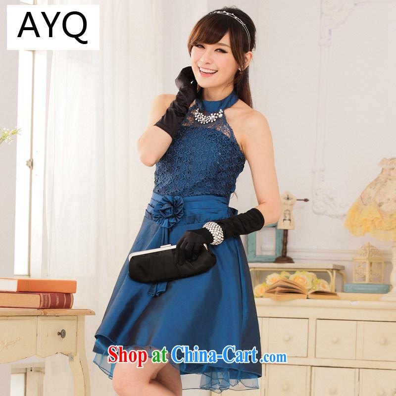 AIDS has been Qi Palace noble Princess lace graphics-waist also dress dresses 9114 A - 1 blue XXXL