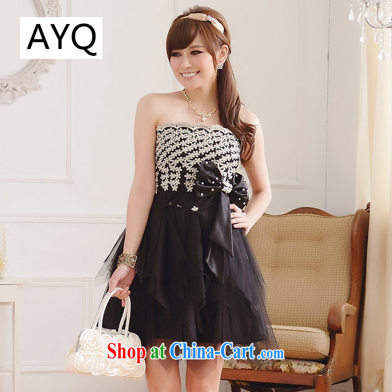 AIDS has been Qi dinner Mandatory Standard hand made embroidered retro graphics thin end chest irregular dress dresses _the invisible_ 9106 A - 1 black XXXL