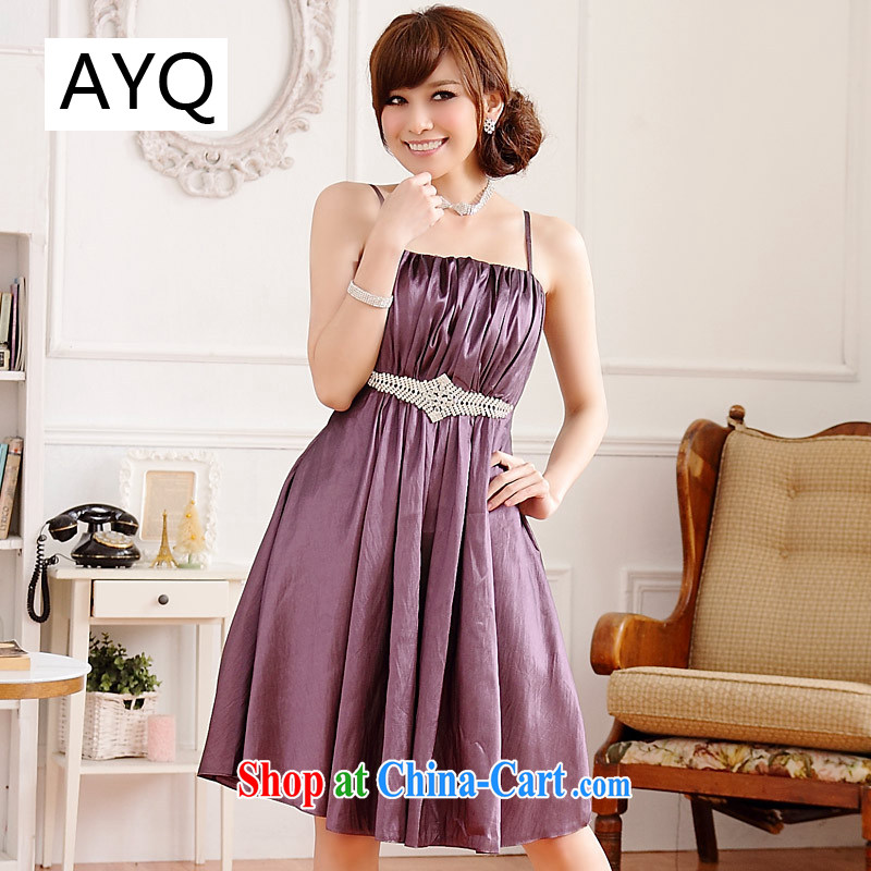 AIDS has been Qi simplicity the US with thin waist waist Palace drill straps dress dresses 9509 A - 1 purple XL