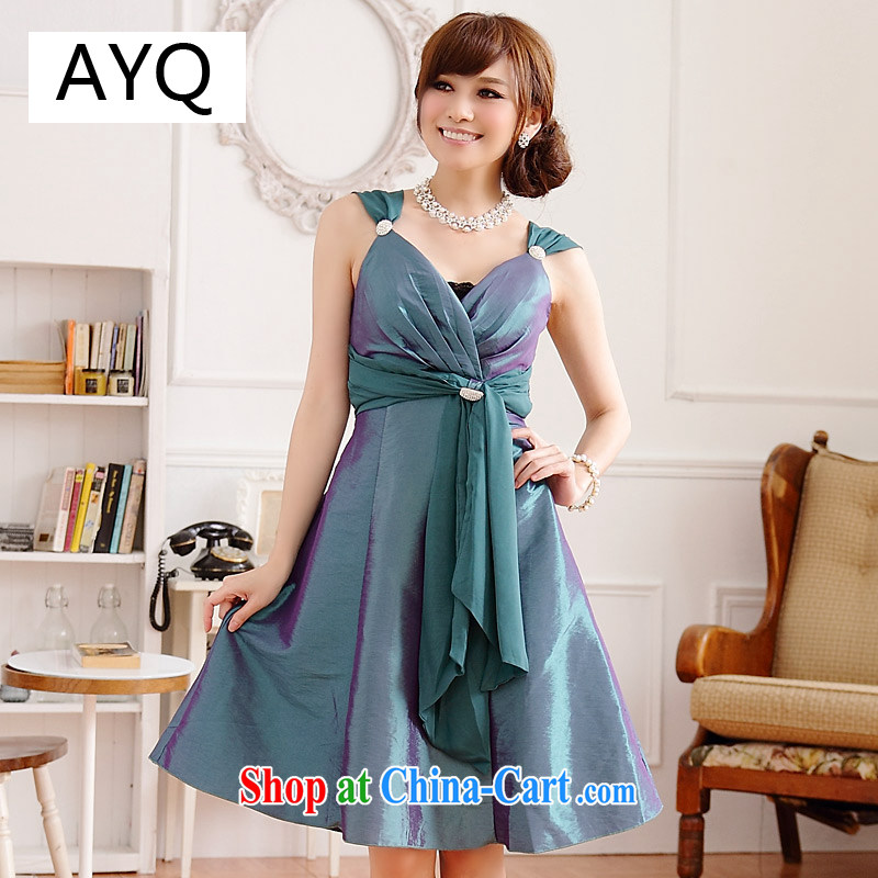 AIDS has been Qi dinner magnificent American chest thin waist V collar diamond buckle straps dress dresses (diamond can be removed with wrapped chest) 9506 A - 1 green XXXL