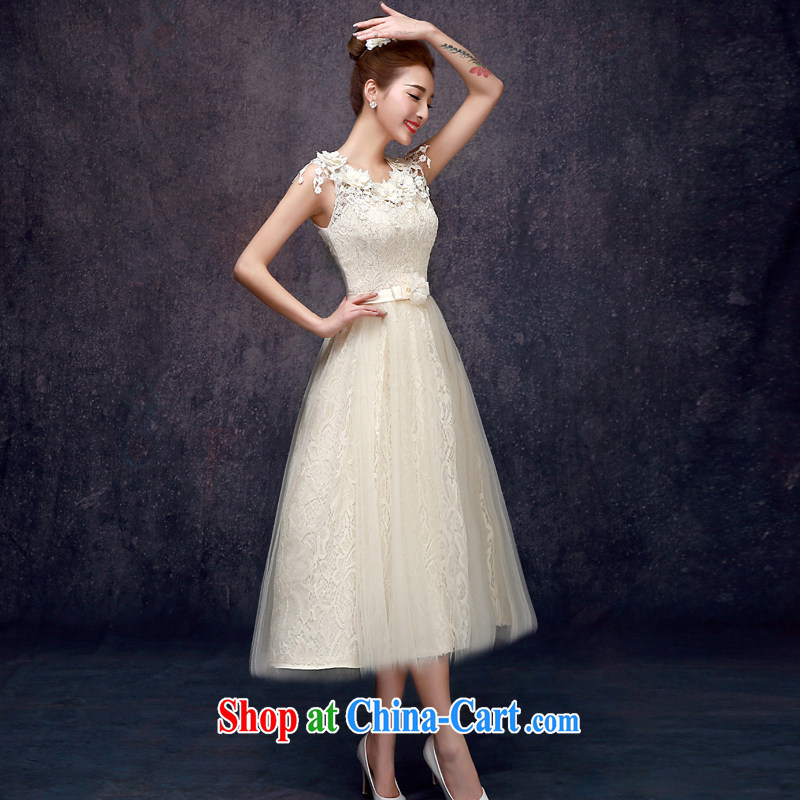 A good service is 2015 new summer champagne color bridesmaid in serving long bridesmaid mission bridesmaid with sister skirt small dress champagne color - the long paragraph E 605 lace double S