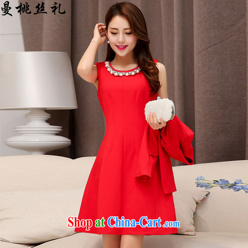 Cayman business, Gift wedding dress dress 2015 spring loaded new stylish aura necklace two-piece bridal wedding dress back door toast bridesmaid dresses with female Red M