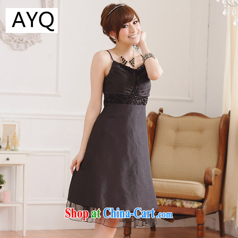 AIDS has been Qi magnificent American chest thin waist V collar straps dress dresses 9105 D - 1 black XXXL