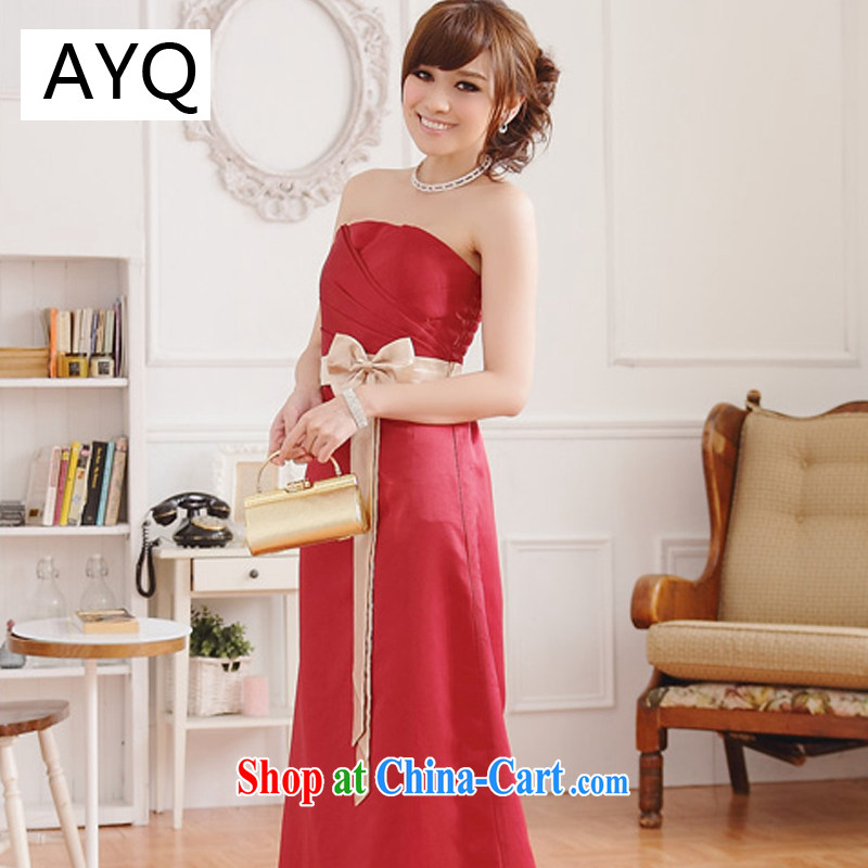 AIDS has been Qi elegant pressure hem and noble the waist and a colorful spell color longer dress dresses 9502 A - 1 red XXXL