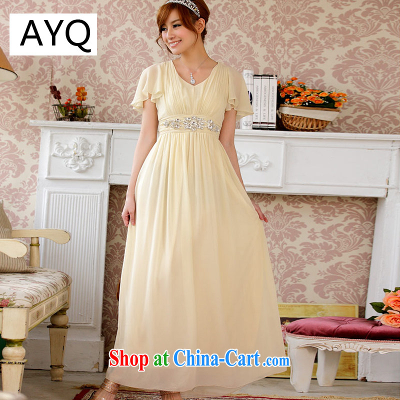 AIDS has been Qi high import, diamond cuff flouncing graphics thin beauty long version dress dresses 9200 A - 3 champagne color XXXL