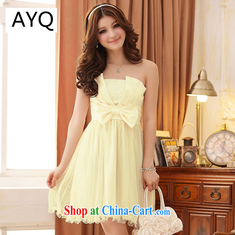 AIDS has been Qi summer coral Princess bow tie-waist dress dresses 3408 - 1 champagne color XXXL