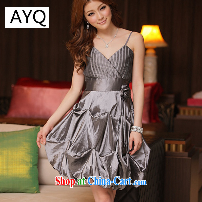 AIDS has been Qi sweet name Yuan pressure folds lantern dress 8348 - 1 gray XXXL