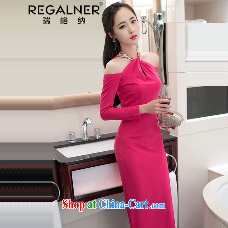 Ryan, 2015, spring and summer, new sense of name-yuan-language also empty your shoulders long-sleeved the forklift truck package and dress dress long skirt red L