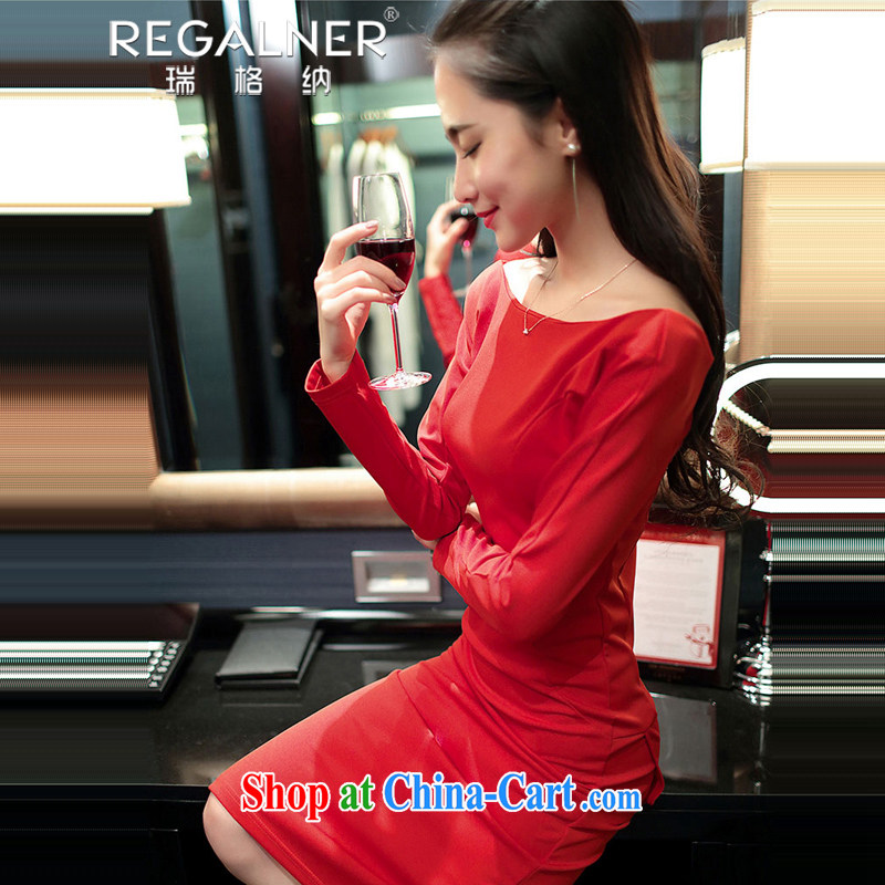 Ryan, 2015 spring and summer new dress sense of the word for name-yuan beauty aura long-sleeved dress dress long skirt red L