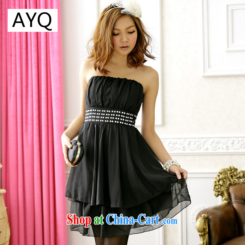 AIDS has been Qi double flouncing end with chest dresses bridesmaid dress 3304 - 3 black are code