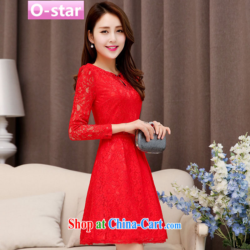 O - Star 2015 spring and summer new bridal dresses wedding dresses lace red package shoulder short bows dress uniform dress the betrothal service female Red 3 XXL, O - Star, shopping on the Internet