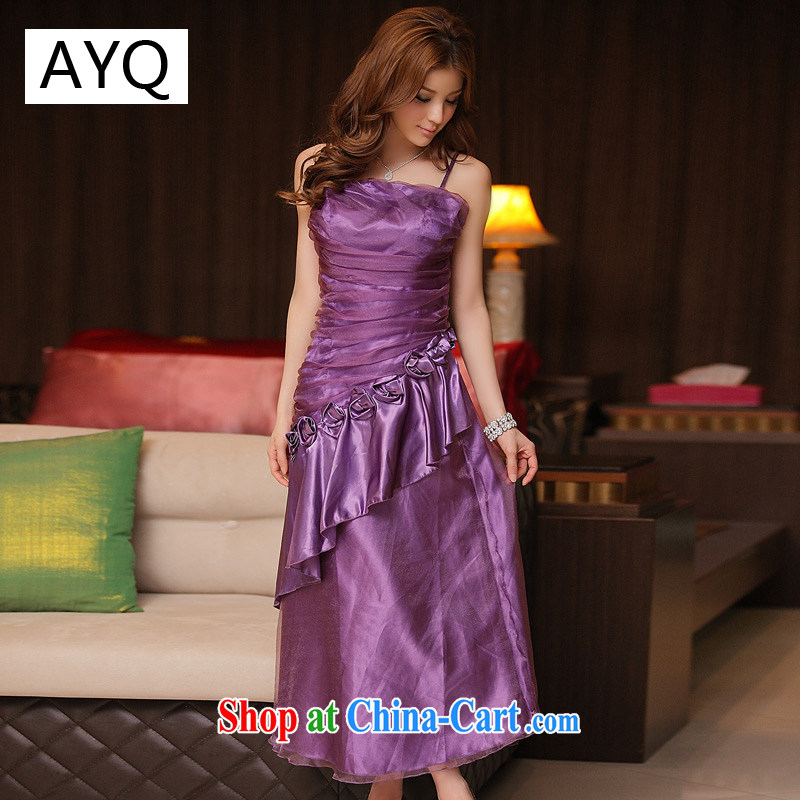 AIDS has been Qi dinner is a flouncing straps long version dress dresses 3211 - 1 purple are code