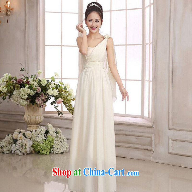 The package mail, Japan, and South Korea version long version bridesmaid sister Greek single shoulder snow woven beauty long skirt celebration small dress champagne color code F