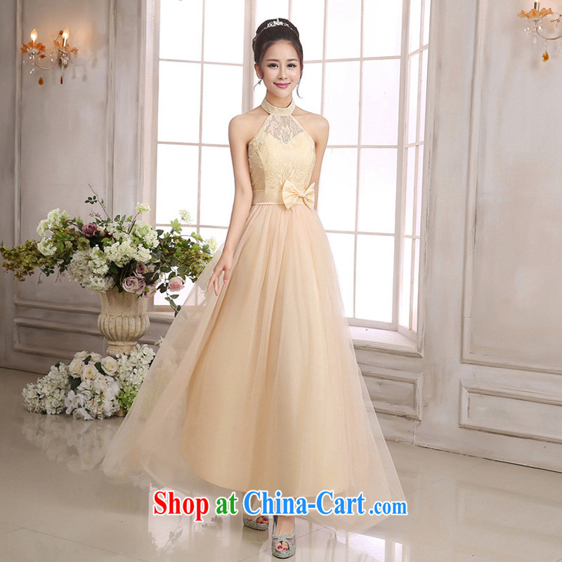 The package mail Korean goddess aura Fan Sin Wai-neck back exposed bare shoulders pink small dress bridal evening dress holiday show longer dresses champagne color code F