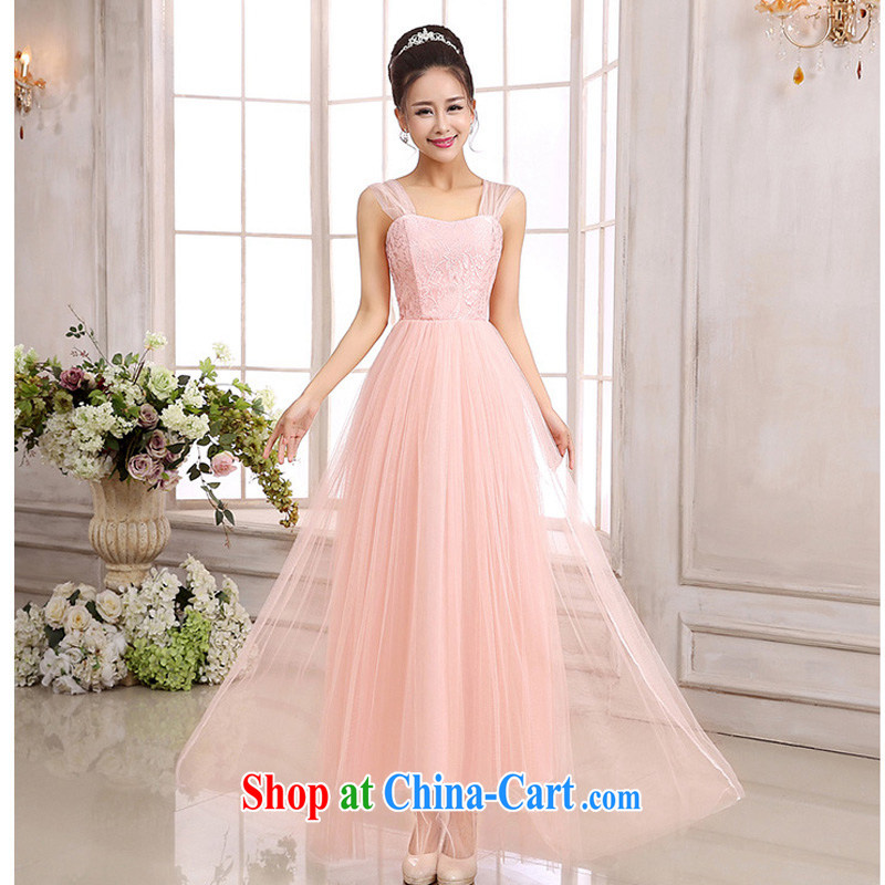 The package-mail stylish Korean Princess double-shoulder Web yarn lace long, cultivating high-waist dress goddess style bridesmaid dress and sisters show annual evening dresses pink are code F