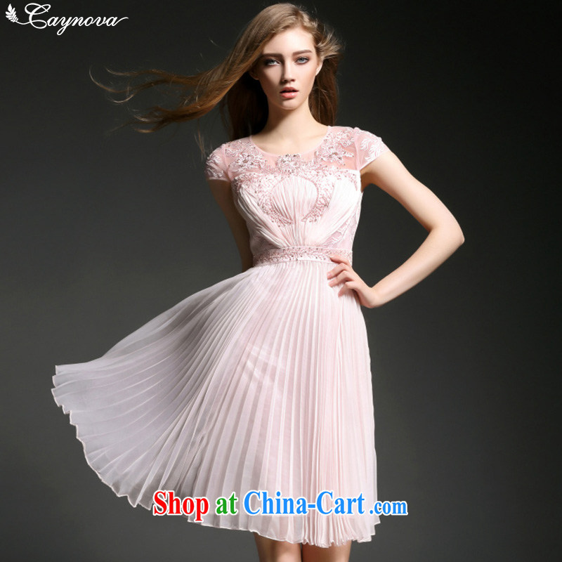 Caynova dresses 2015 New American and European luxury fashion industry the pearl cultivation dress pink XL