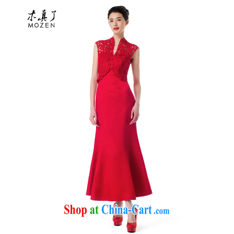 Wood is really the 2015 spring new stitching Openwork wedding dress bridal toast service wedding dress dress 42,798 04 deep red XL