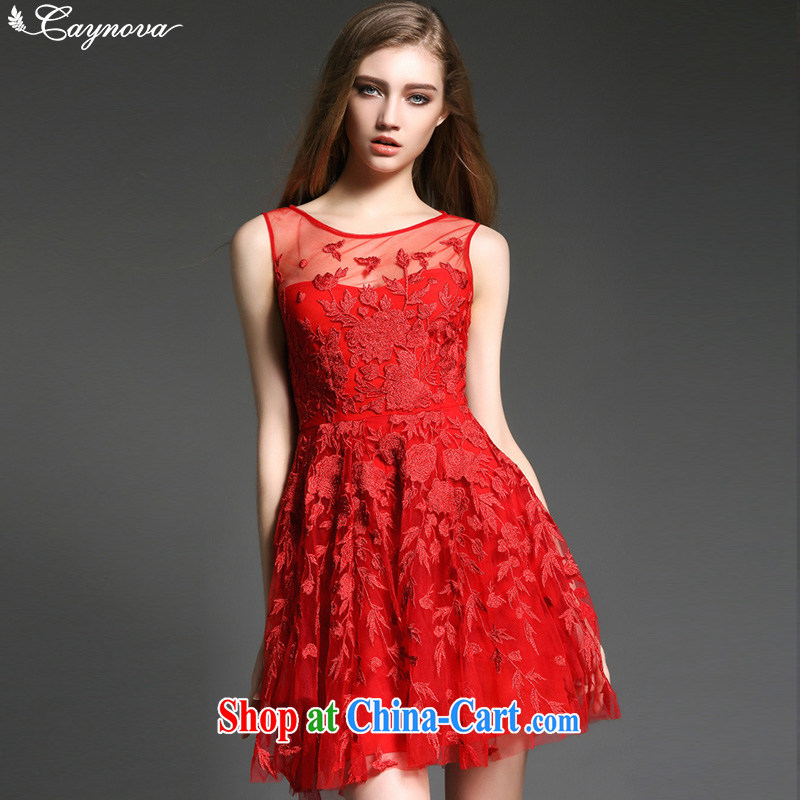 Caynova 2015 new stylish sexy yarn Web gold embroidery beauty graphics thin dress dresses red XL