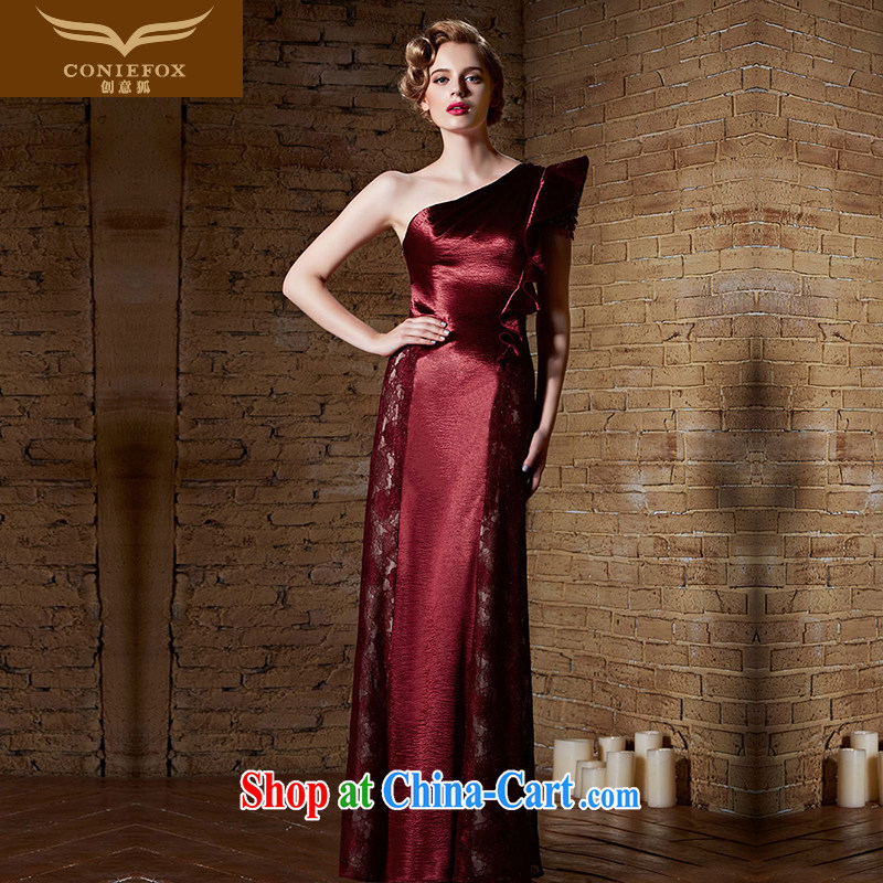 Creative Fox Evening Dress 2015 new sexy single shoulder bridesmaid dress dress red bridal wedding dress banquet toast service annual 30,869 dress dark red XXL