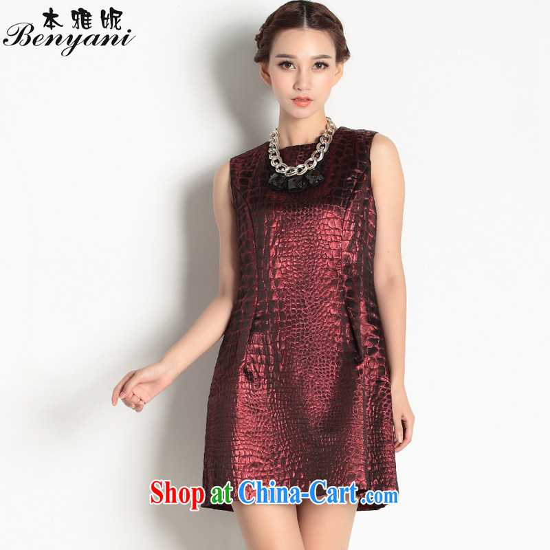 In her 2015 spring new three-dimensional light silk aura catering small dress sleeveless dresses charm dark XL/170
