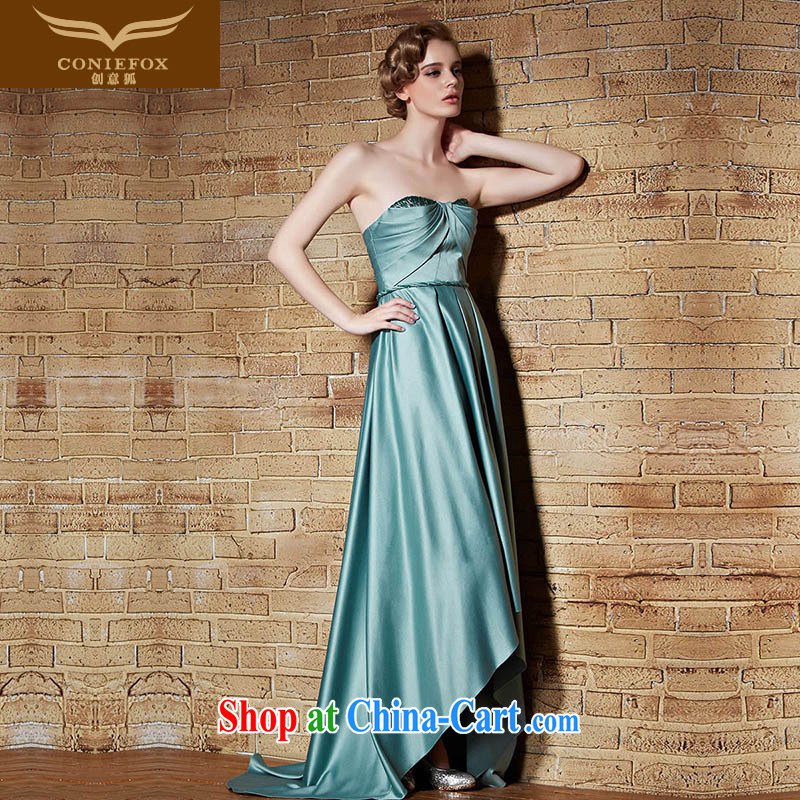 Creative Fox 2015 New Evening Dress long high-waist dress wiped chest dress sexy Evening Dress banquet performances dress tail dress long skirt 30,892 green XL