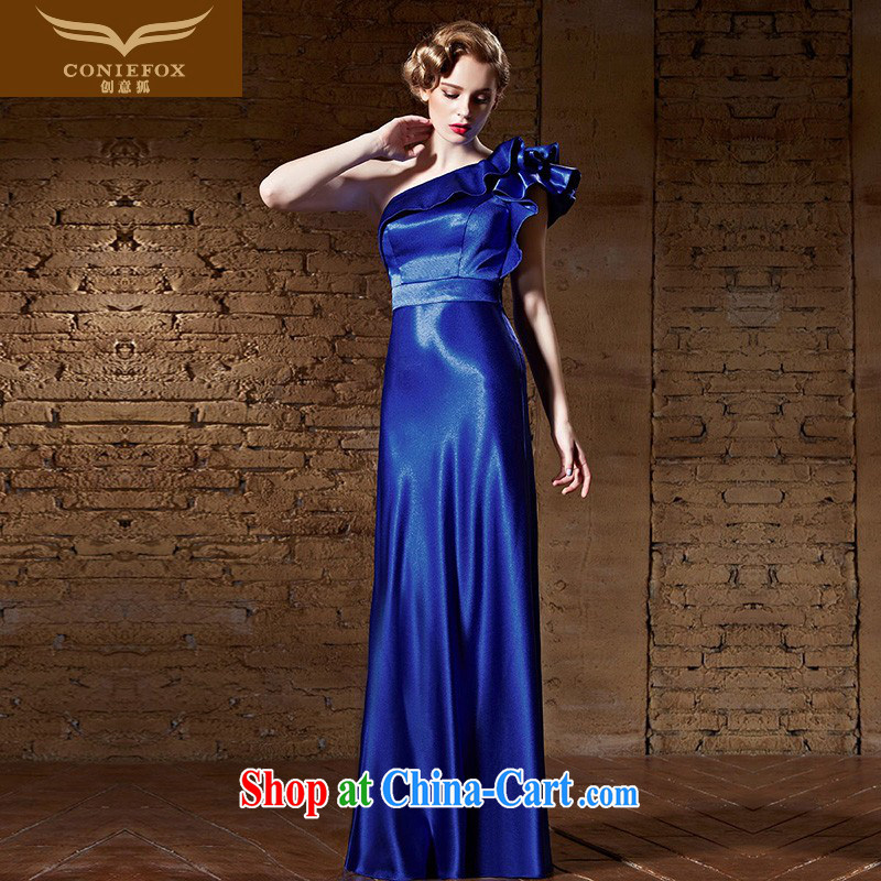 Creative Fox 2015 New Evening Dress blue single shoulder dress long dress evening dress toast reception service annual dress dress presided over 30,855 deep blue XXL