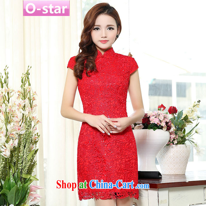 O - Star 2015 spring and summer new toast Service Bridal load short-sleeved dresses dresses wedding dresses short red lace female Red 2 XXL