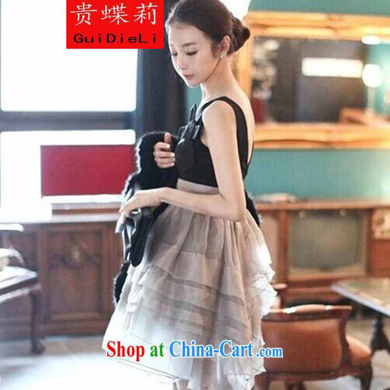 The butterfly her summer 2015 new high-waist shaggy Princess dresses sleeveless sweet European root yarn small dress skirt picture color L