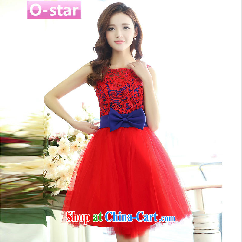 O - Star spring 2015 new stylish bows Service Bridal bridesmaid clothing red wedding dresses wedding dress short skirt red blue XL