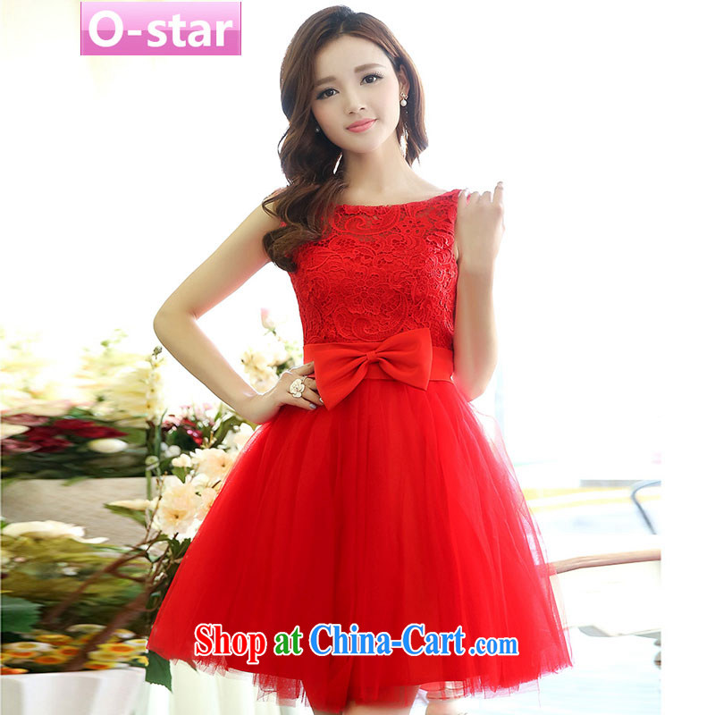 O - Star spring 2015 new stylish bows Service Bridal bridesmaid clothing red wedding dresses wedding dress short skirt red XL