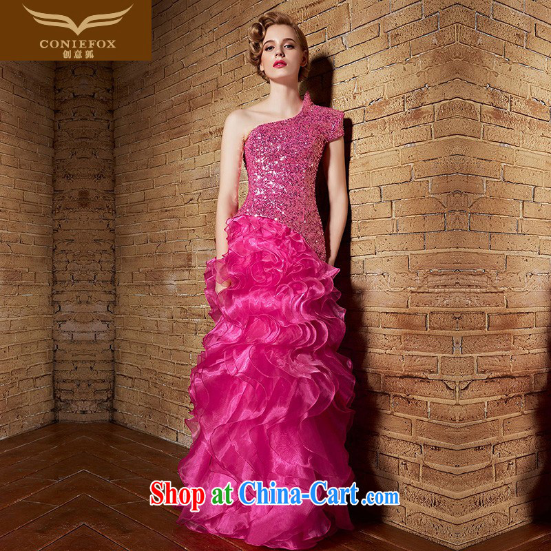Creative Fox 2015 New Evening Dress red wedding dresses sexy single shoulder dress uniform toast bridesmaid dress long evening dress woman dress cake 30,862 rose red XXL