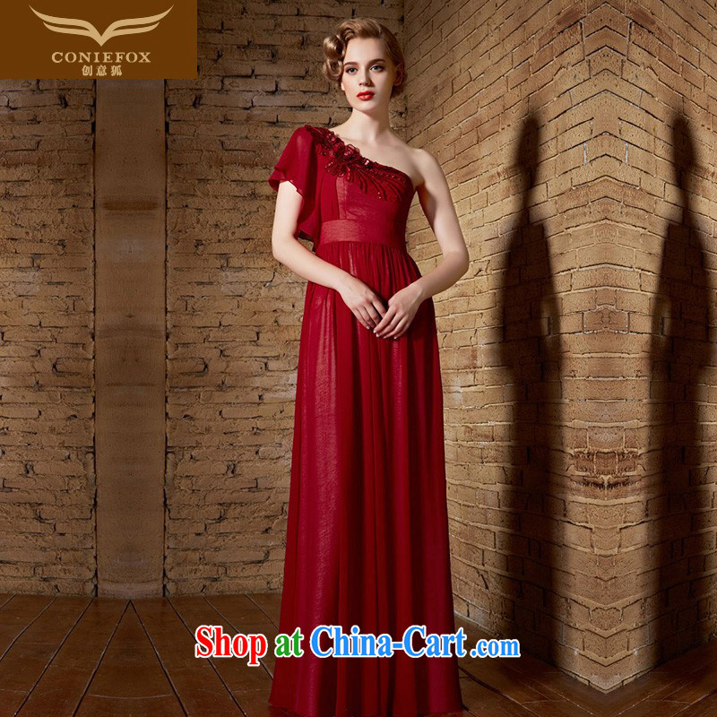 Creative Fox Evening Dress 2015 New Red sexy single shoulder dress wedding dress long banquet dress evening dress uniform toast long skirt 30,891 red XL