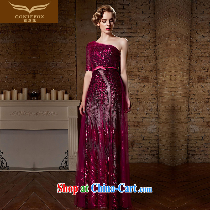 Creative Fox 2015 new banquet dress red toast clothing stylish sexy single shoulder dress long wedding dress dress bridal gown 30,921 red XXL