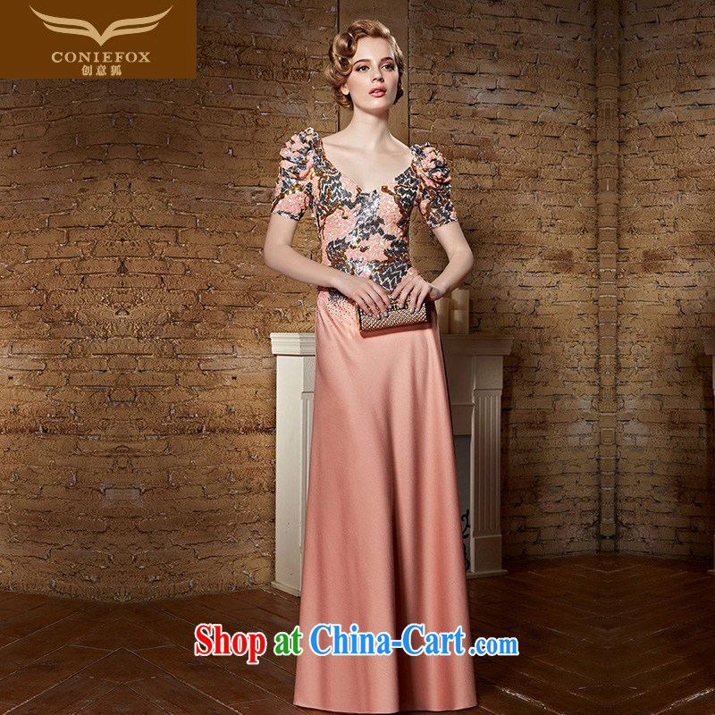 Creative Fox Evening Dress 2015 new wedding dress deep V long terrace back evening dress uniform toast exhibition dress banquet presided over 82,158 dresses pink XXL