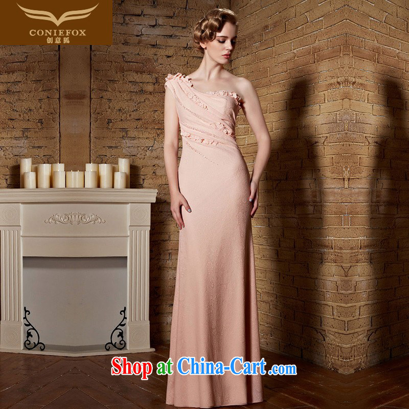 Creative Fox Evening Dress Evening Dress pink single shoulder bridesmaid dress dress long dress high waist bows service graphics thin bridal wedding dress welcome serving 82,153 rose red XXL