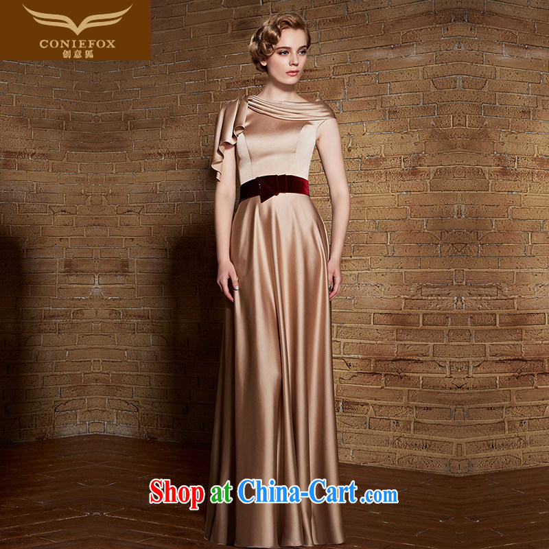 Creative Fox dress high waist graphics slim, dress banquet bridal toast dress long skirt gold dress female annual meeting moderator Evening Dress dress 30,880 apricot XXL
