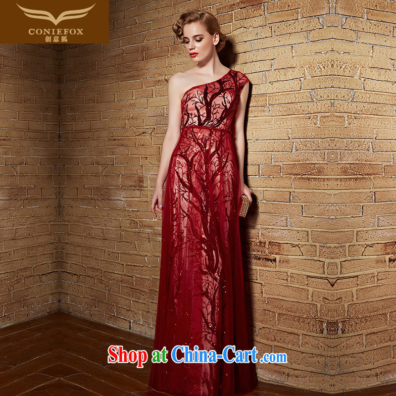 Creative Fox Evening Dress 2015 new single shoulder dress sexy red bridal wedding dresses bridesmaid dress uniform toast long evening dress long skirt 82,151 red XXL