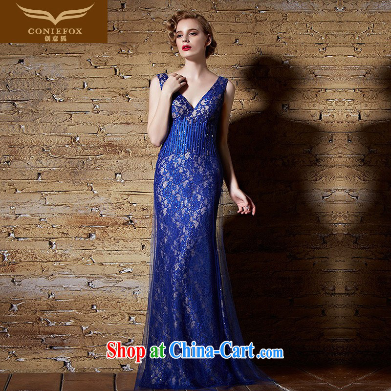 Creative Fox Evening Dress blue classic dress at Merlion dress long fall dress model dress exhibition annual dress moderator dress 30,903 blue XXL