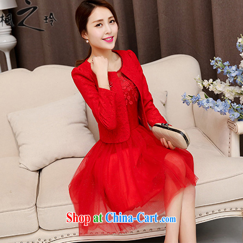 Thanks for Mrs 2015 new spring Korean fashion trends beauty sweet temperament red jacket dresses wedding dresses skirt bridesmaid clothing female Red XL