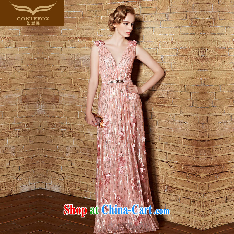 Creative Fox V collar dress long dress Evening Dress girl bridesmaid dress dress pink wedding toast stage dress annual meeting moderator dress 30,856 pink XL