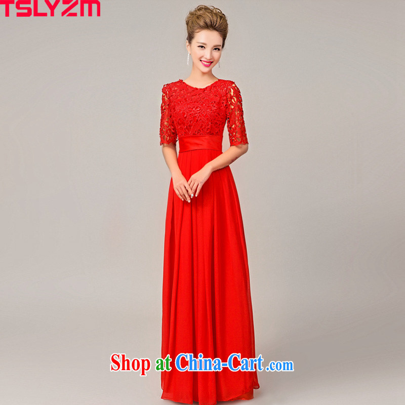 Tslyzm bridal wedding dress girl toast service 2015 new spring and summer red-waist beauty graphics thin short-field shoulder lace bridesmaid clothing, long sleeves, C XL