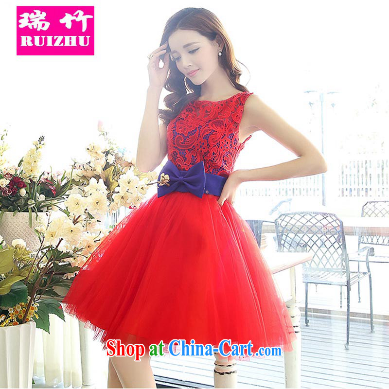 Shui bamboo bridesmaid dress short version Korea wiped chest bridal toast dinner serving small shaggy dress Evening Dress Korean Beauty graphics thin dresses Web yarn Princess 2015 new red with blue XL