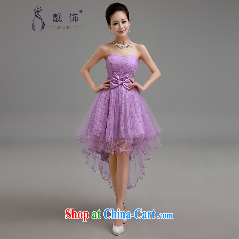 Beautiful ornaments 2015 new small dress purple smears chest lace front short long bridesmaid dresses small shaggy purple skirt S