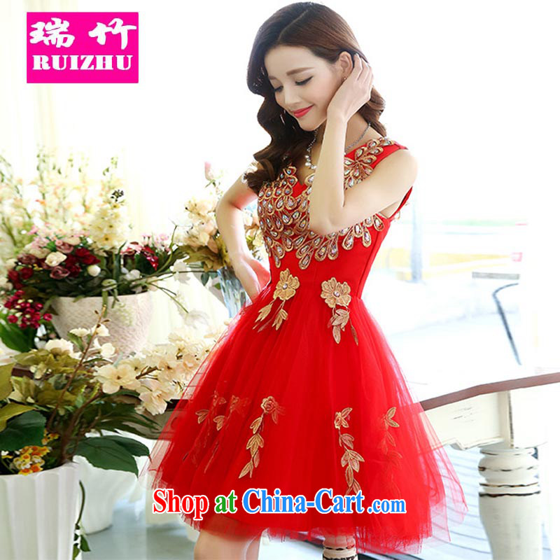 Shui bamboo wedding dresses bridal wedding short red toast serving sister dress bridesmaid serving small dress new 2015 red Ms. M