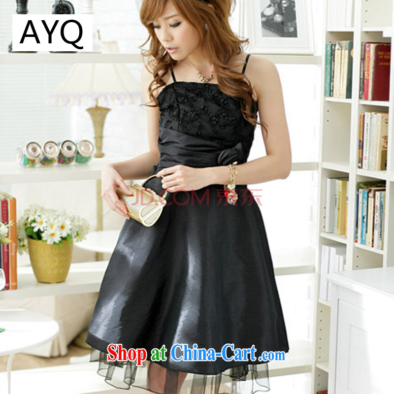 AIDS has been Qi spring and summer fashion sweet large straps dress bridesmaid dress evening gown 1174 - 2 black are code