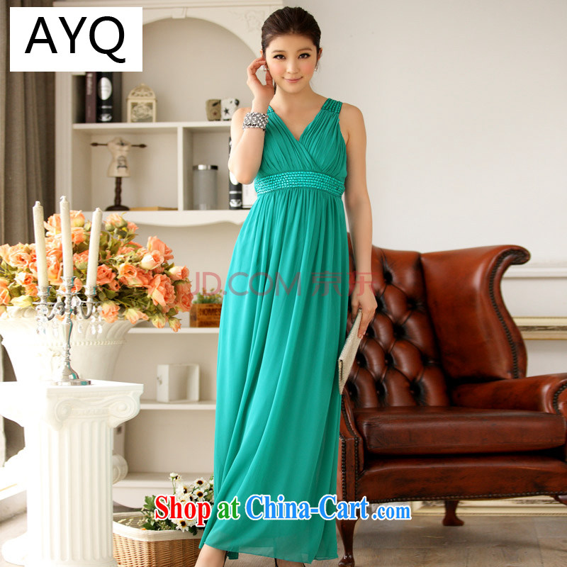 AIDS has been Qi Europe wind package annual chest dress dress straps dress bridesmaid clothing snow woven skirt A 9602 - 1 green is code