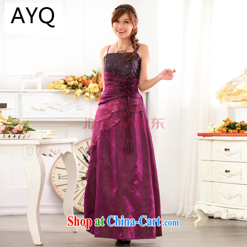 AIDS has been Qi long, waist-high, banquet service upscale terrace shoulder straps sexy evening dress, Moderator performance service 9717 A - 1 purple are code