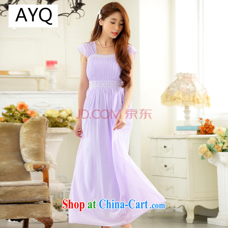 AIDS has been Qi dress high-end, shoulder a purely manual staple the Pearl Light drill long dress snow woven dresses 9628 A - 1 purple are code